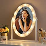 LUXFURNI Hollywood Lighted Vanity Makeup Mirror w/12 LED Lights, Touch Control Dimmable Cold/Warm Light, Adjustable…
