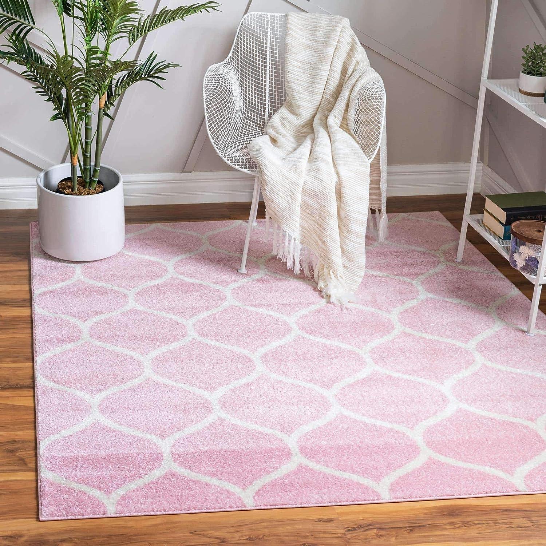 Unique Loom Trellis Frieze Collection Lattice Moroccan Geometric Modern Square Rug, 5 Feet, Pink/Ivory