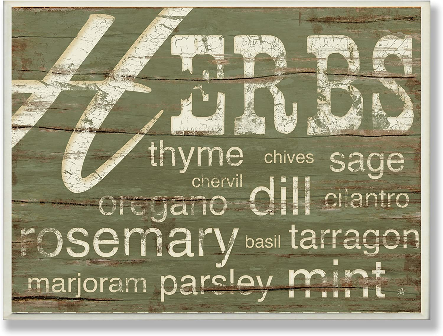 Stupell Home Décor Herbs And Words Green Kitchen Wall Plaque, 10 x 0.5 x 15, Proudly Made in USA