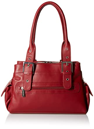 Visconti Sophia Leather Handbag Ladies Top Handle Shoulder Bag, Red, One Size