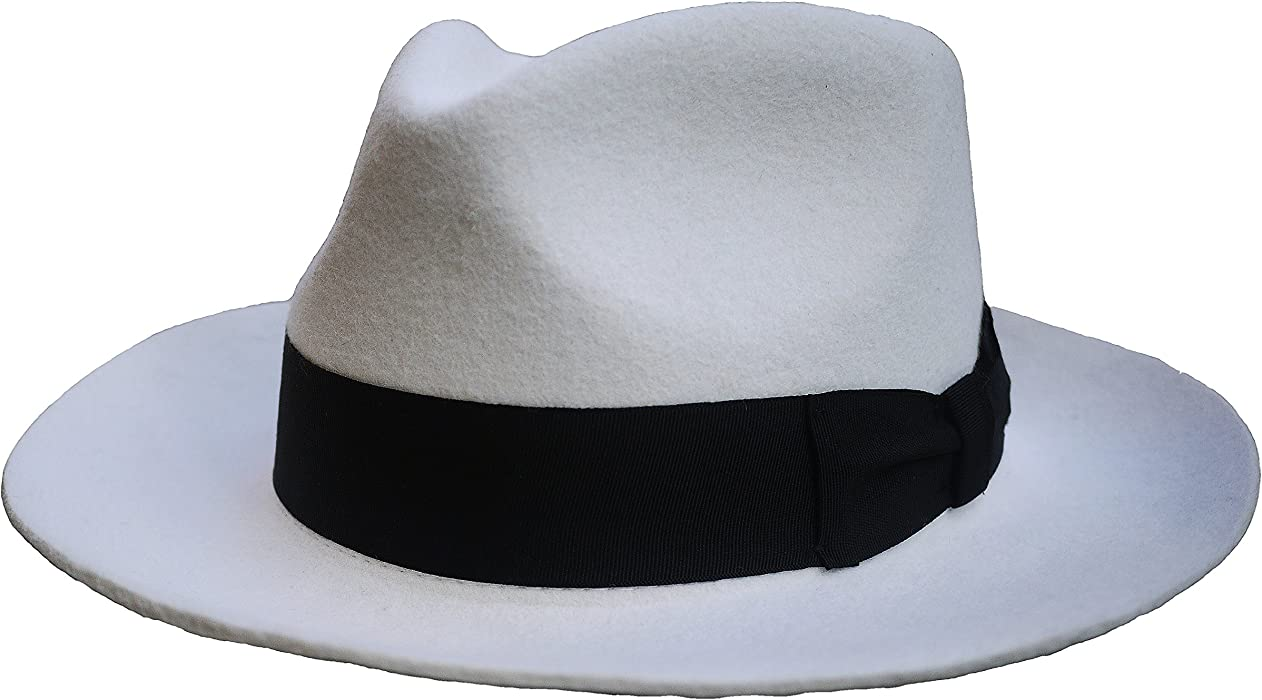 82e19a954ed Fedora Hat Wool-Felt Mafia Hat Godfather Unisex Women Men s Classic White