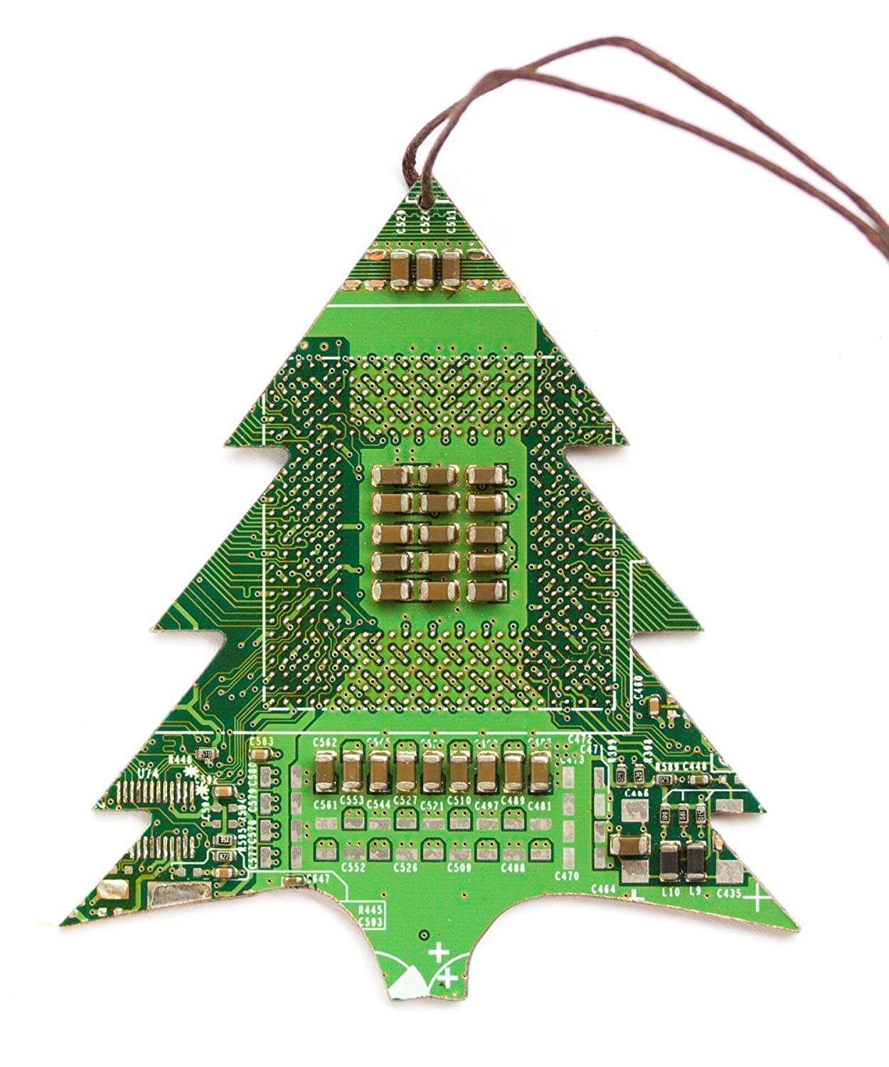 Amazon.com: Green Christmas Tree Ornament, recycled circuit board ...