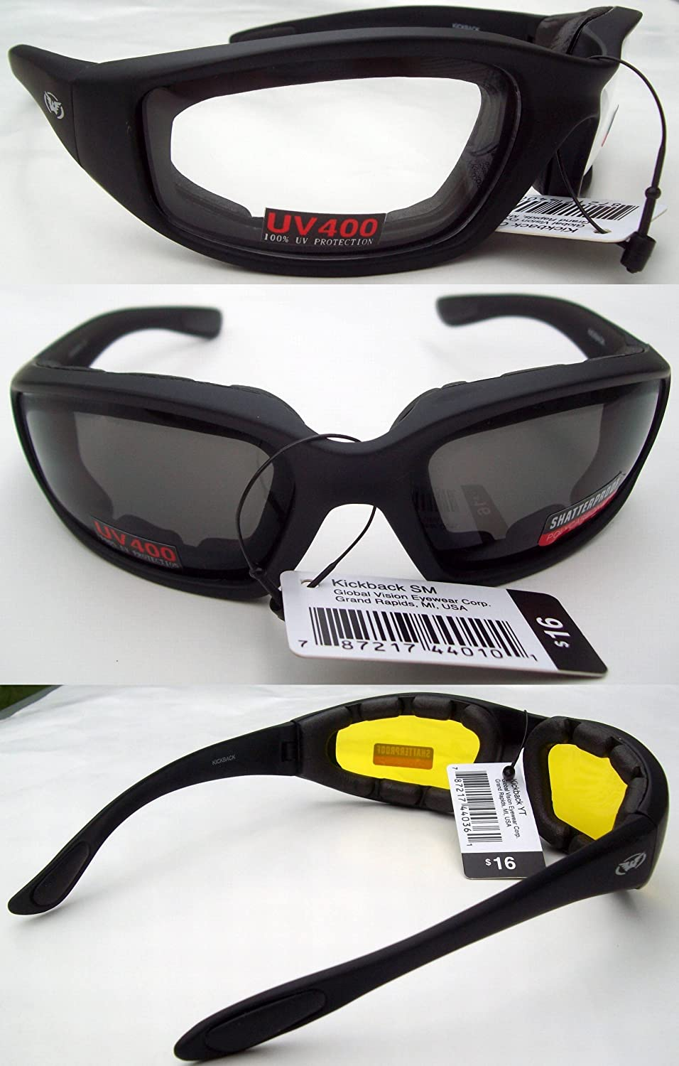 3 Pairs: Padded Motorcycle Glasses Sunglasses Smoke Clear Yellow + Storage Bags GV