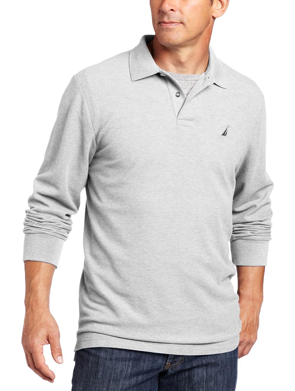 Nautica Mens Big-Tall Long Sleeve Solid Deck Knit Polo Shirt