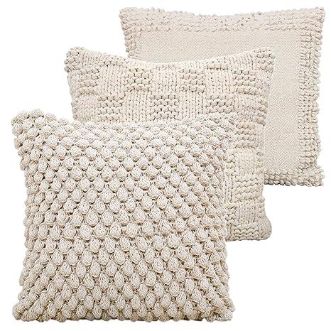 casamia - Juego de 3 Cojines Decorativos para sofá (pompón ...