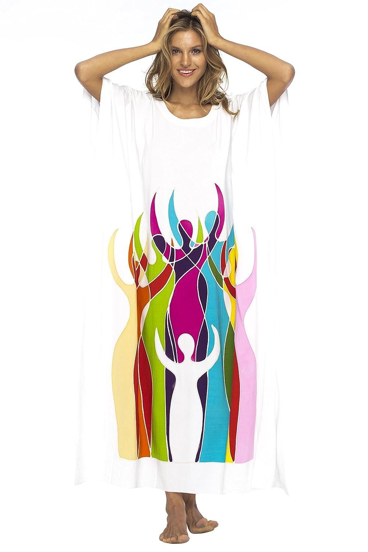 Empowerment White Back From Bali Womens Long Maxi Caftan Dress Loose Women Empowerment