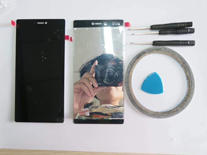 For Huawei Ascend P8 pantalla táctil LCD completo negro + Cinta Adhesiva y herramientas