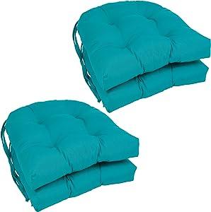"Blazing Needles Solid Twill U-Shaped Tufted Chair Cushions (Set of 4), 16"", Aqua Blue"