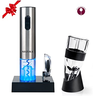 Secura Premium Wine Lover's Gift Set | 7-Piece Wine Accessories Set | Electric Wine Opener, Wine Foil Cutter, Wine Aerator