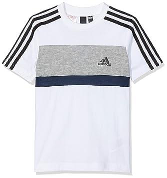 1e87392e7dd5ed adidas Jungen Sports ID Fleece Kurzarm T-Shirt White Grey  Heather Collegiate Navy