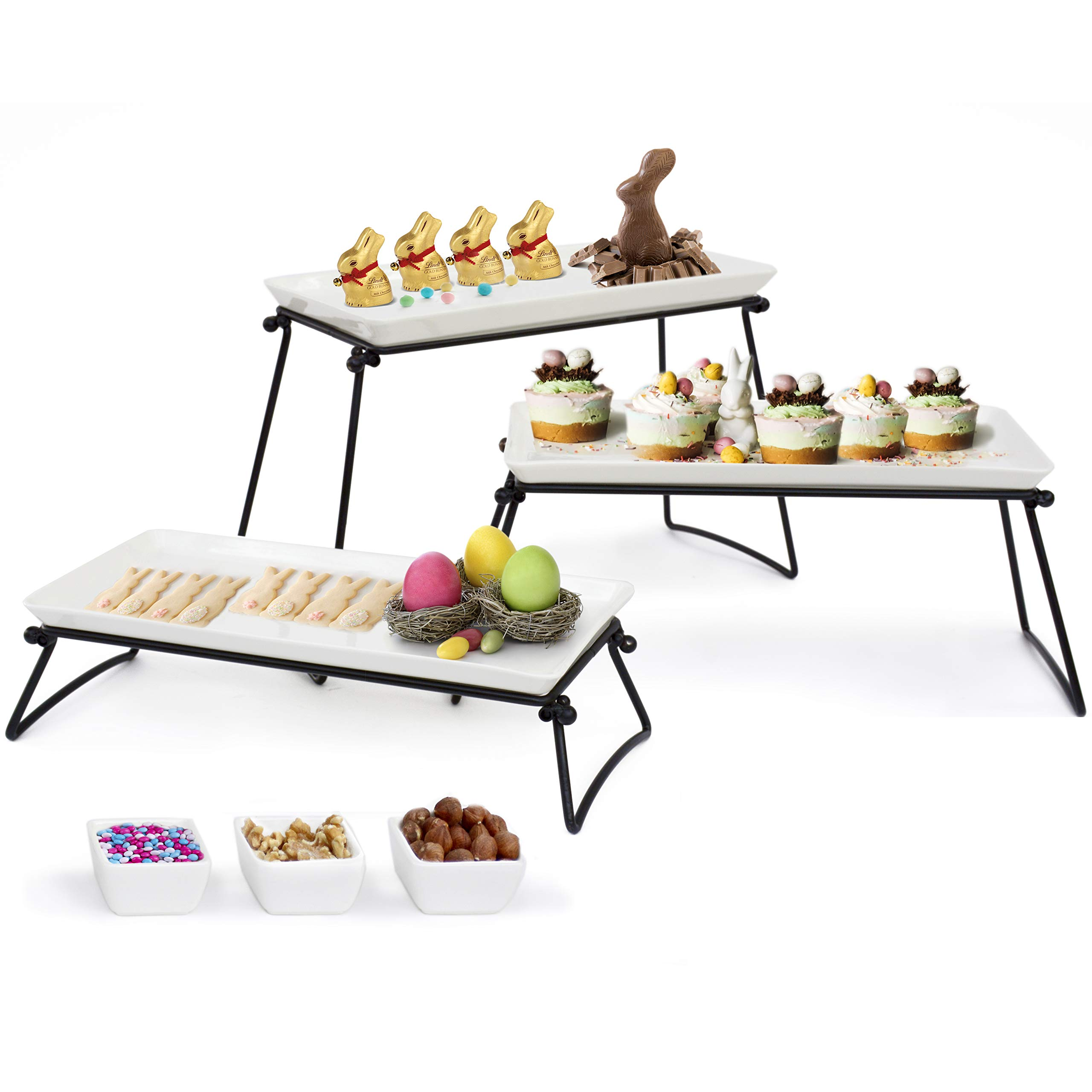 Elegant 3 Tier Serving Stand- New 2019 Model – 3 X-Large Ceramic Plates (13.5''x6.5'') +3 Sauce Dishes – The Complete Serving Set For Parties By Elite Creations
