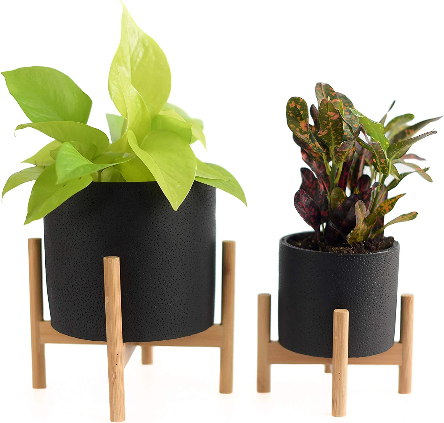 Mid-Century Modern Black Cement Planters with Bamboo Plant Stands (Set of Two Sizes) for Indoor Plants, Flower Pots with Drainage Hole