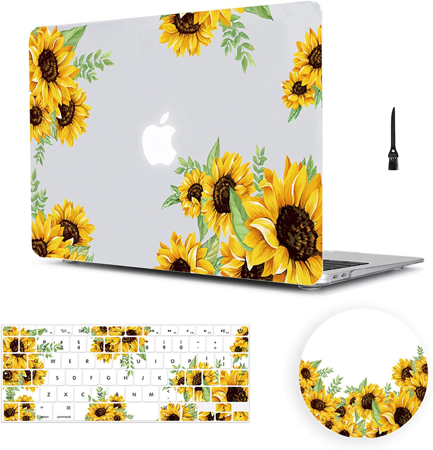 MacBook Air 13 Inch Case 2018 Release A1932,Arike Sunflower Matte See Through Clear Hard Case with Keyboard Cover & Mouse Pad Compatible for MacBook Air 13 Inch with Retina Display & Touch ID
