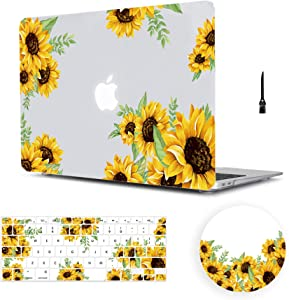 "MacBook Air 13 inch Case Floral, Arike Sunflower Matte See Through Clear Hard Case with Keyboard Cover & Mouse Pad Compatible for MacBook Air 13"" Old Version 2010-2017 (A1466 &A1369)"