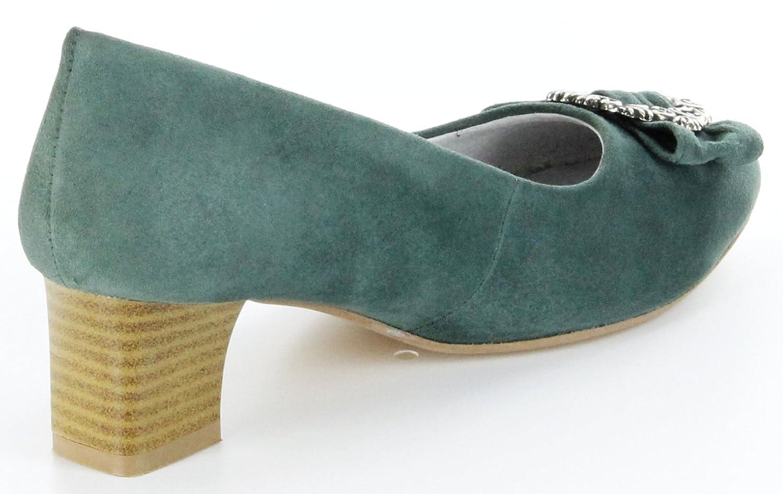 Bergheimer Trachtenschuhe Trachten Pumps moos grün Leder Ziegenvelour Ziegenvelour Leder Damen Schuhe Rosi 6abb31
