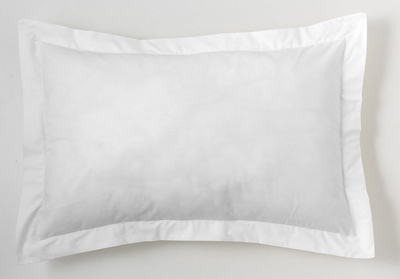 ESTELA - Funda de cojín Combi Liso Cala Color Blanco - Medidas 50x75+5 cm. - 100% Algodón - 144 Hilos - Acabado en pestaña