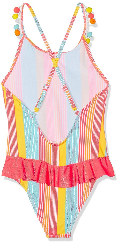 Size 4 Toddler Girls Striped Ruffle Swimsuit Pink Billieblush