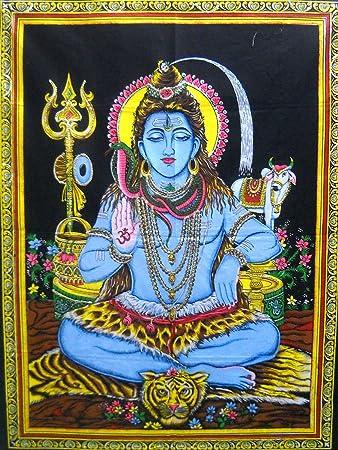 India Crafts Blessing Lord Shiva Hindu God Batik Cotton Wall Tapestry 40 X 30 Home Kitchen Amazon Com