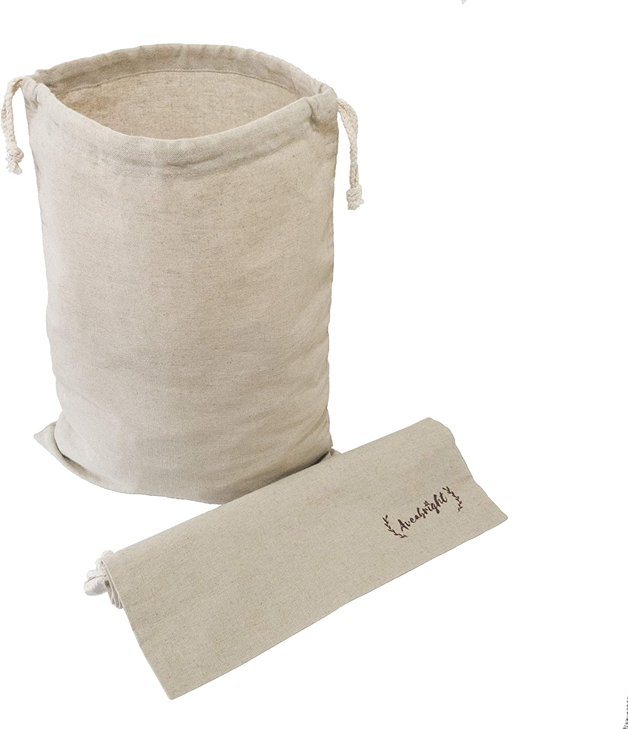 Linen Bread Bags for Homemade Bread Large Drawstring Bags - 100% Pure Flax Linen (No Cotton Blend) Reusable Bread Bags, Linen Laundry Bags, Zero Waste Produce Bags & Other Uses (14x18 Inch, Pack of 2)