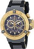 Invicta Men's Quartz Watch with Grey Dial Chronograph Display and Black Plastic Strap 0930