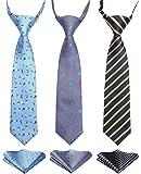 Enlision 3pcs Boys Pre-Tied Neckties & Pocket Square Set Neck Strap Tie for Kids
