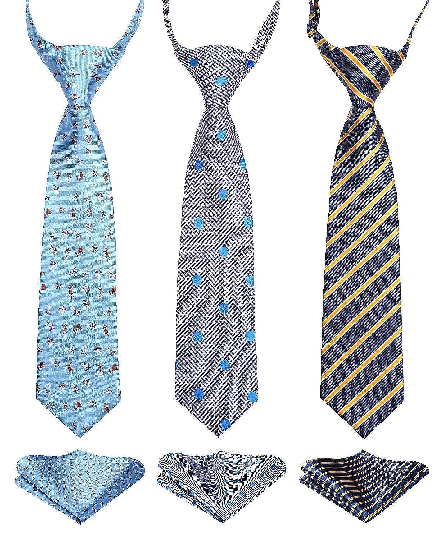 Enlision 3pcs Boys Pre-Tied Neckties /& Pocket Square Set Neck Strap Tie for Kids