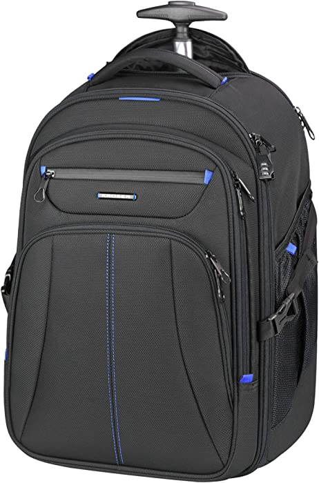 KROSER Rolling Laptop Backpack Premium Wheeled Computer Backpack Fits Up to 17 Inch Laptop Check Point Friendly Water-Repellent Overnight Roller Case with RFID Pockets for Travel/Business/College/School/Men/Women-Black/Blue