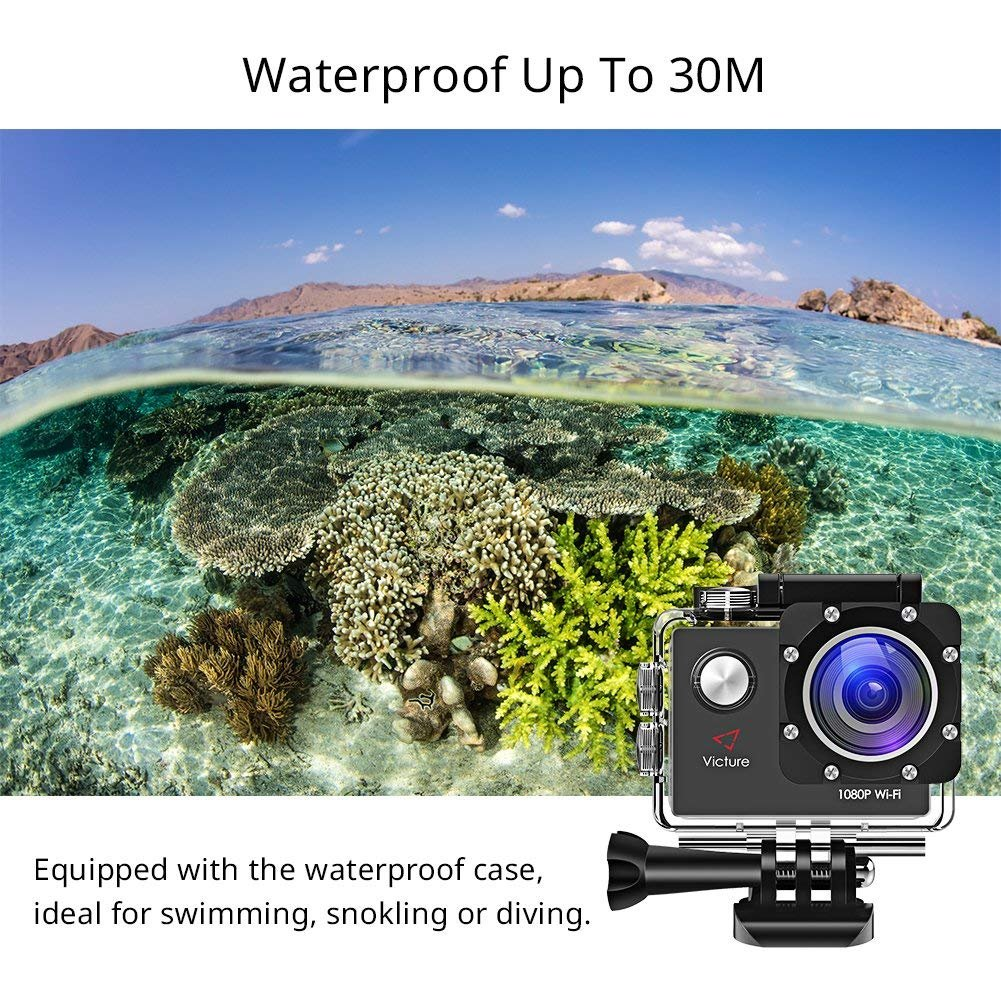 Victure Action Camera Full HD 1080P WiFi Waterproof Underwater Camcorder 2 LCD 170 Degree Ultra Wide Angle 30 m Sports Helmet Cam with 2 Batteries and Free Accessories by Victure (Image #5)