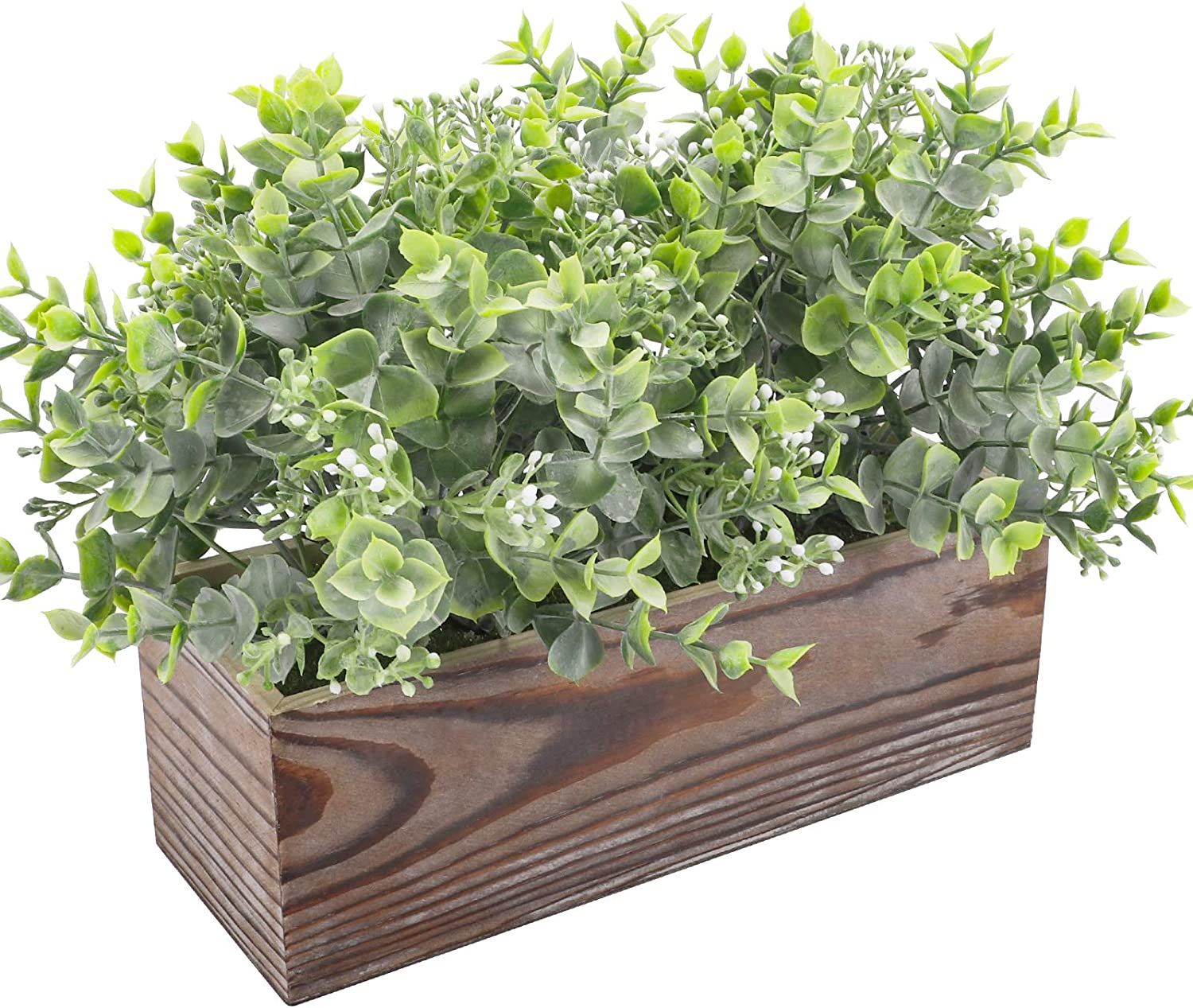 Funarty Fake Plants Artificial Eucalyptus in Rustic Wood Box Artificial Greenery Arrangement Potted Plants for Mantle Décor Windowsill Décor