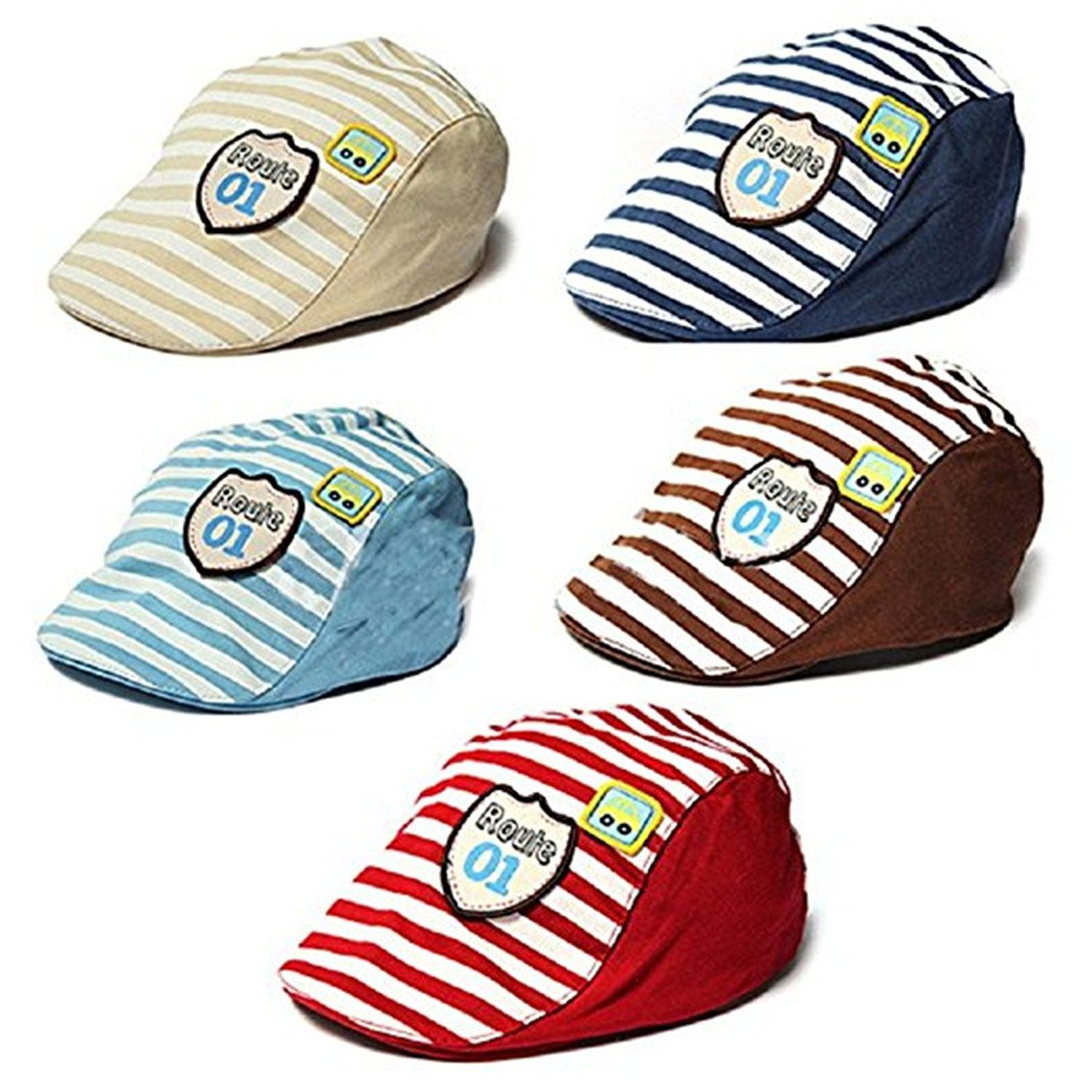 80dc9fce43d Gemini mall® Baby Kids Toddler Stripe Beret Hat Flat Cap Baseball Cap  Brown  Amazon.co.uk  Clothing