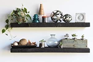 Urban Legacy Reclaimed Barnwood Floating Shelves - Set of 2 - Amish Made in Lancaster County, PA (Coffee Bean, 48