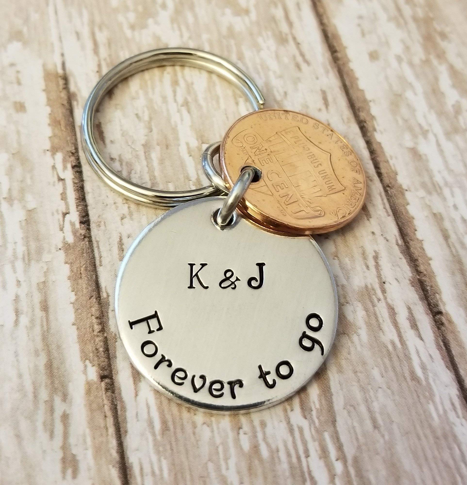 7 Year 7th Anniversary 2011 Lucky Copper Penny with Down and Forever To Go Coin Key Chain