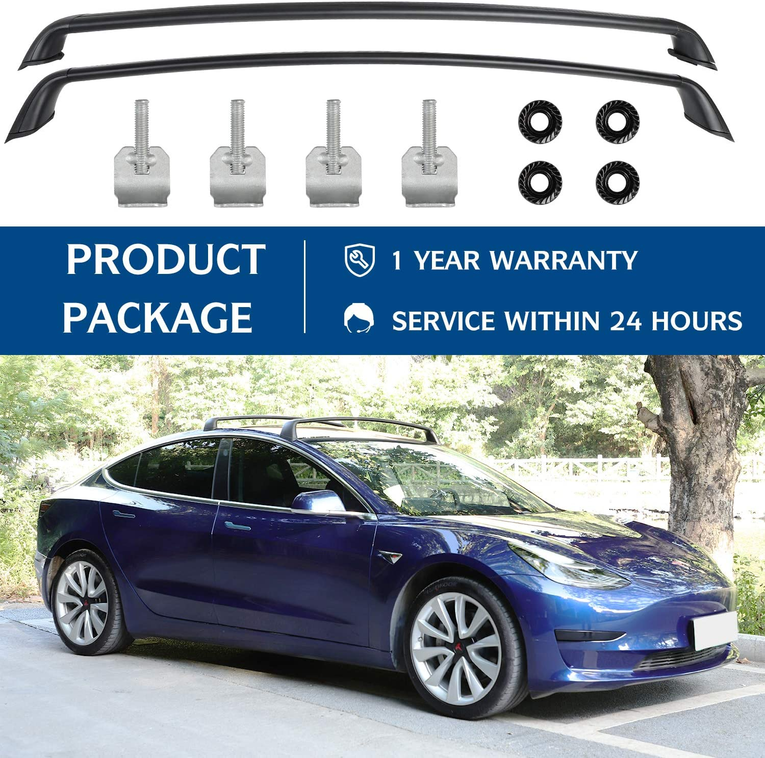 Set of 2 Tesla Model 3 Roof Rack Aluminum Cargo Cross Bars