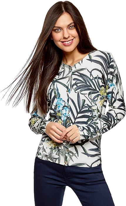 oodji Collection Mujer Rebeca de Punto con Estampado Floral c078cf25d3f9