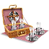 Stainless Steel Picnic Play Set in Wicker Basket - 17 Pieces, Red Check Cloth