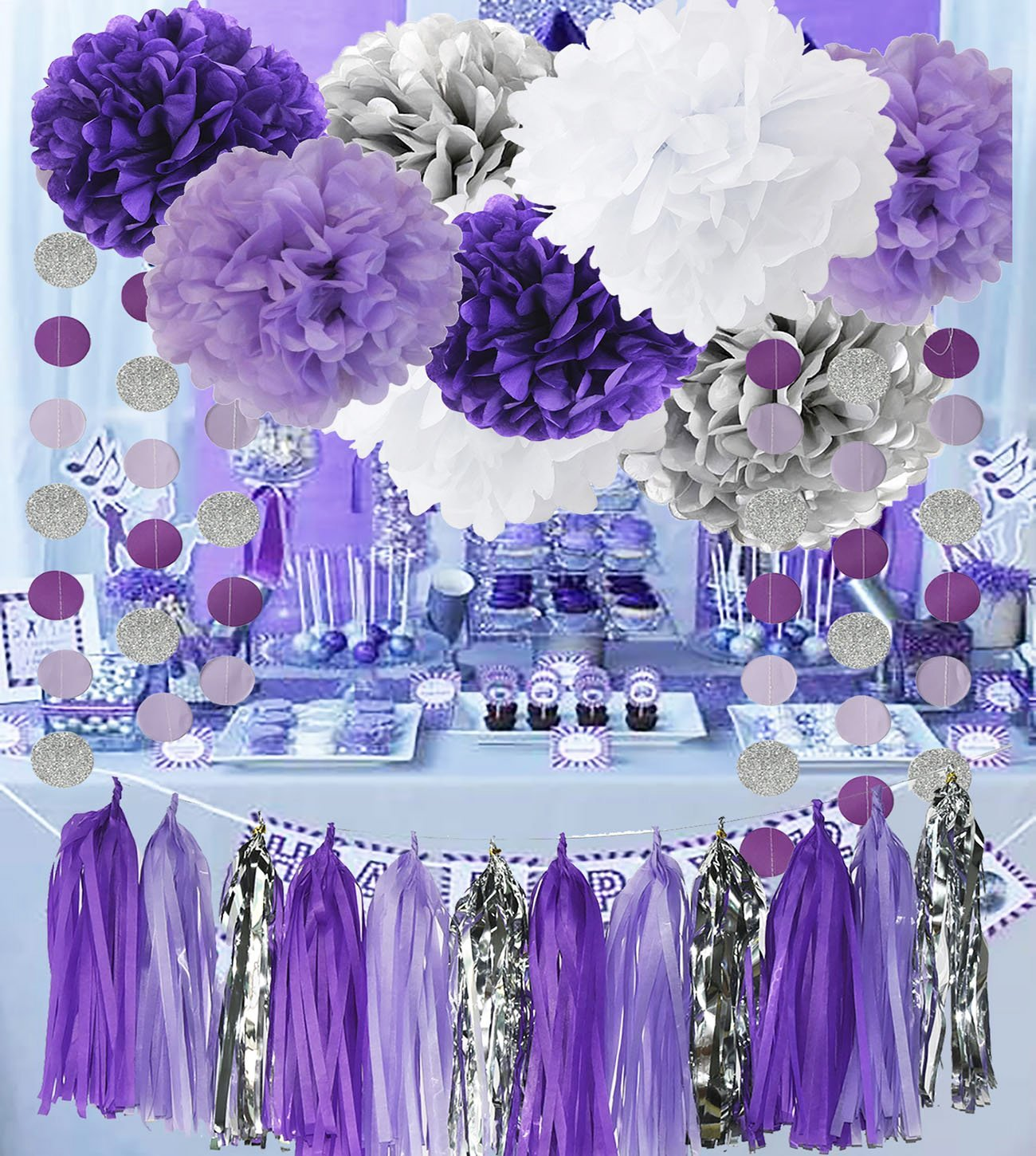 low cost bridal shower decorations purple white silver tissue pom pom amaranth purple silver circle