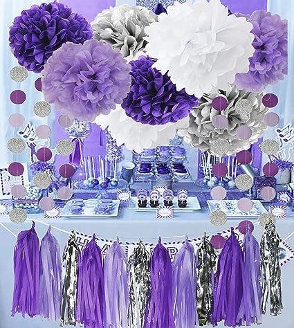 Amazoncom Bridal Shower Decorations Purple White Silver TIssue Pom