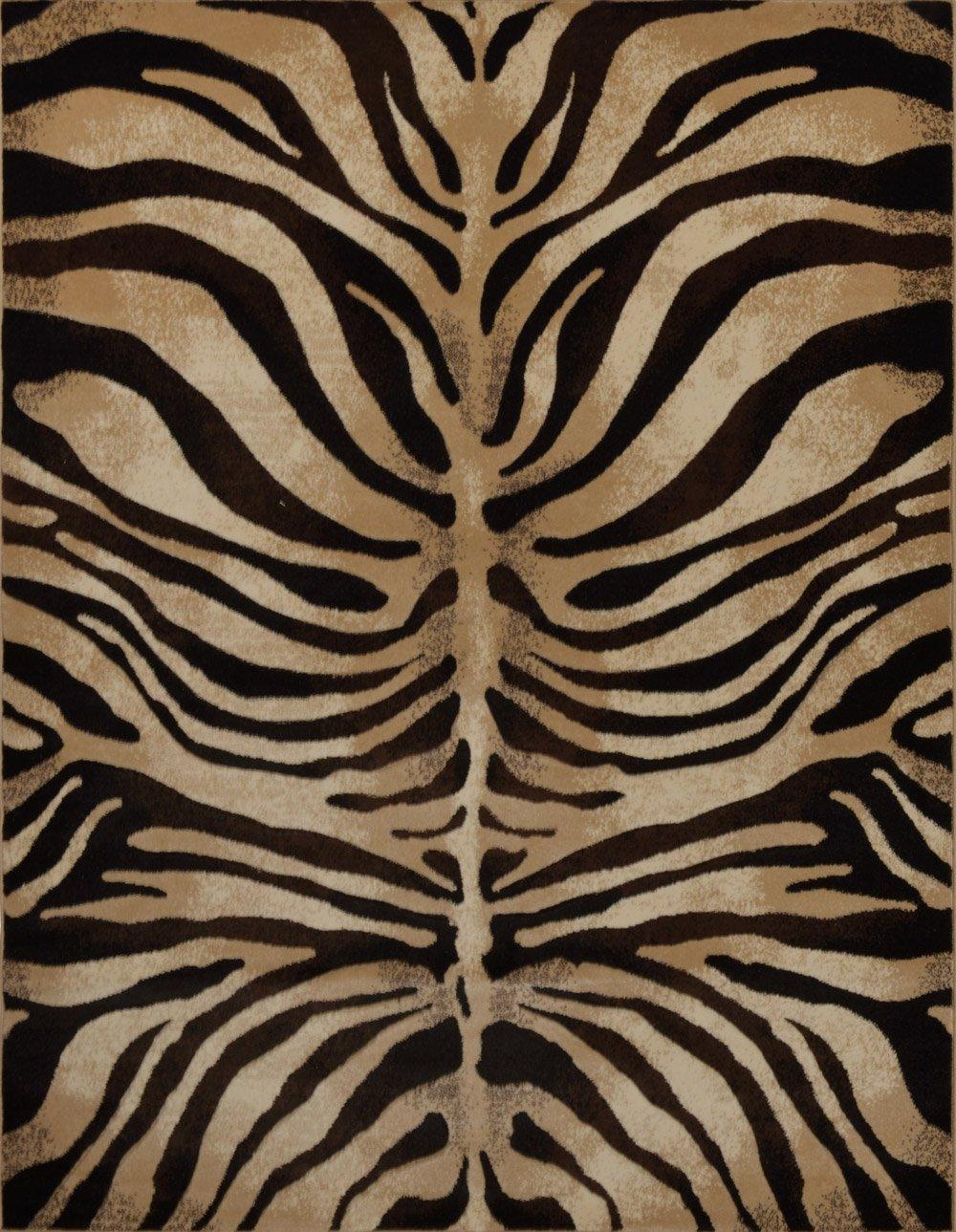 Modern Zebra Stripes Area Rug 8x11 Animal Skin Print Carpet-Actual 7'10''x10'6''
