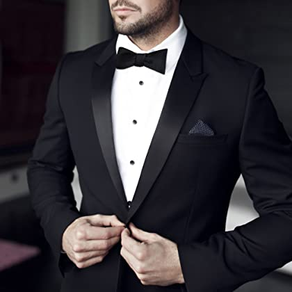 df3d147bb136 ... 100% Silk Mens Bowtie Black Bow Ties for Men Self Tie Tuxedo Bow Tie by