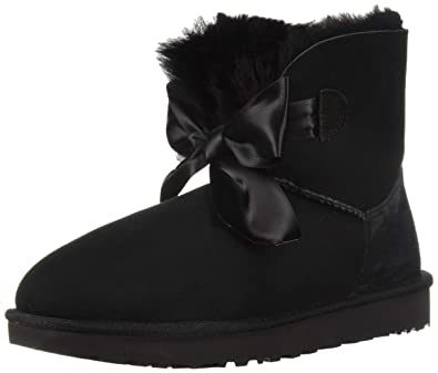 UGG Damen Gita Bow Mini Classic Boot Hellgrau, 37 EU, Black