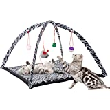 PETMAKER Cat Activity Center- Interactive Play Area Station for Cats, Kittens with Fleece Mat, Hanging Toys, Foldable Design