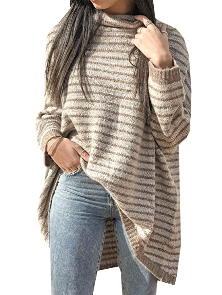Zandiceno Women\u0027s Long Wool Sweater Cute Oversized Turtleneck Striped  Sweater Jumper