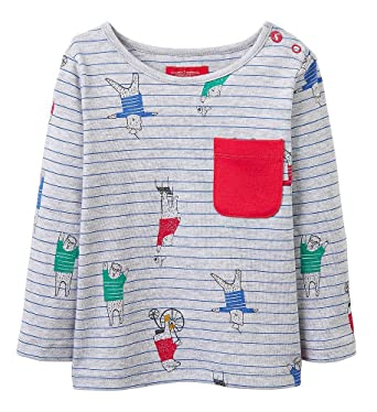 379568550 Joules Baby Boys Rufus Pin Stripe T-Shirt - Cotton Long Sleeved Top Grey:  Amazon.co.uk: Clothing