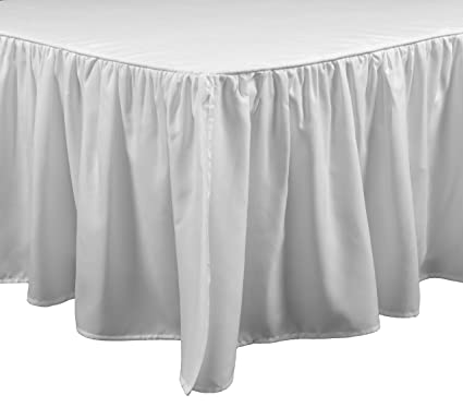Cal King Bed Skirt.Brielle Stream California King Bed Skirt Cal White