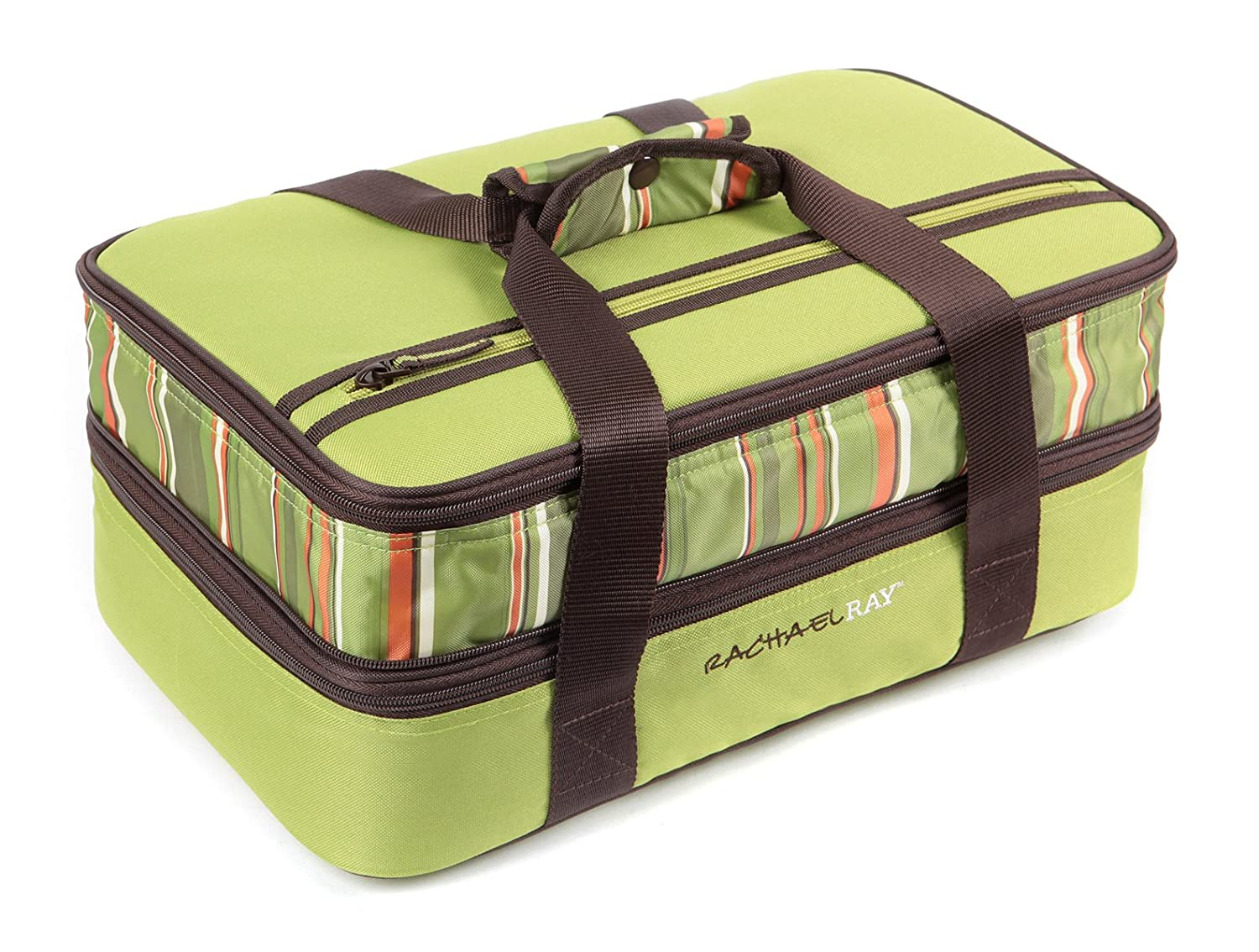 "Rachael Ray Expandable Lasagna Lugger, Double Casserole Carrier for Potluck Parties, Picnics, Tailgates - Fits two 9""x13"" Casserole Dishes, Green"