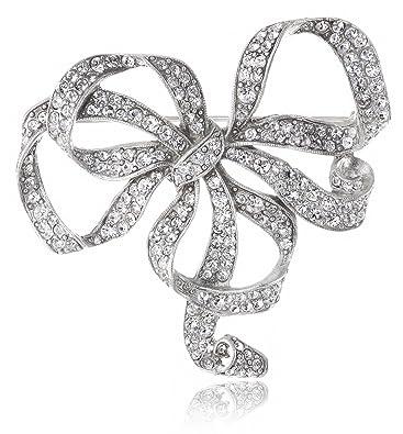 Amazon com: Ben-Amun Jewelry Swarovski Crystal Bow Brooch: Brooches