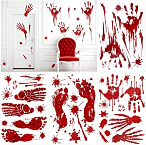 Konsait 80+pcs Halloween Bloody Handprint Clings Footprint Splats Clings Window Stickers Horror Bathroom Scary Decals for Halloween Vampire Zombie Party Decorations Supplies Home Wall Decor