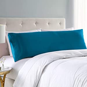 EXQ Home Satin Body Pillow Cover Teal Silky Body Pillowcases with Envelope Closure 20x54.