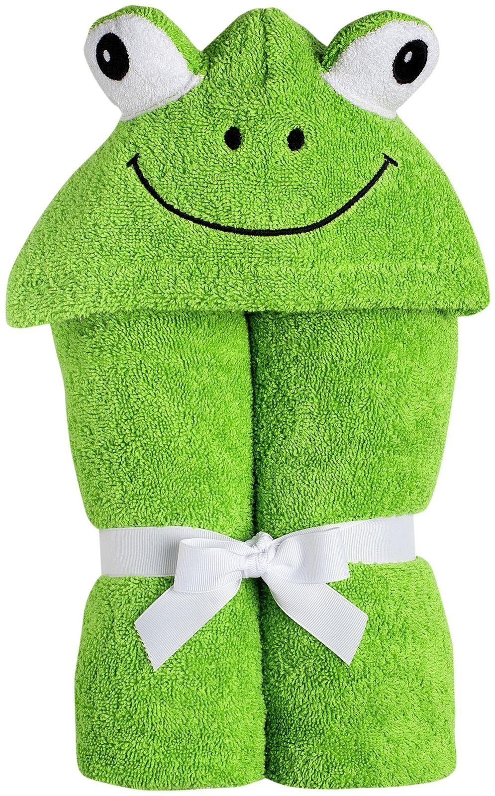 Yikes Twins Child Hooded Towel - Green Frog by Yikes Twins
