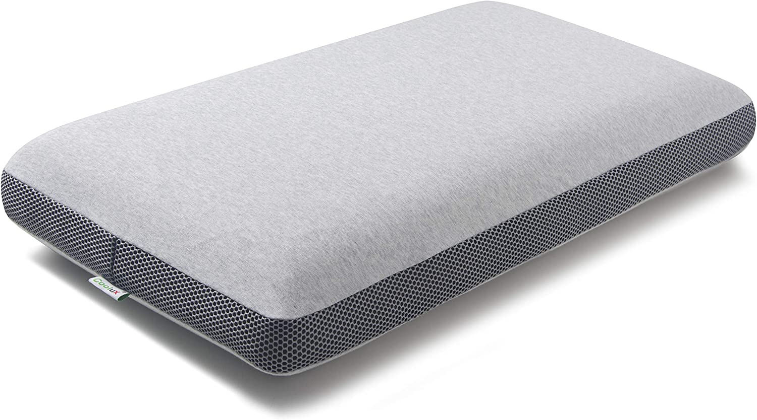 Coolux Memory Foam Pillow - Sleeping Pillow for Back, Stomach, Side Sleepers - Contour Bed Pillows for Neck and Shoulder Pain Relief (Grey+Black, Height: 4 inch)
